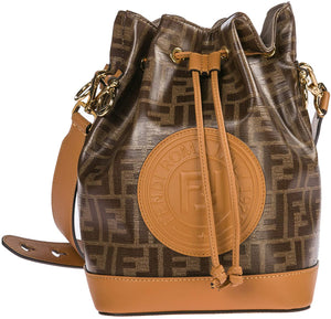 Fendi Mon Tresor Ladies Small Brown Fabric and Leather Bucket Bag 8BT298-F15WV - DivaJean