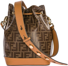 Load image into Gallery viewer, Fendi Mon Tresor Ladies Small Brown Fabric and Leather Bucket Bag 8BT298-F15WV - DivaJean