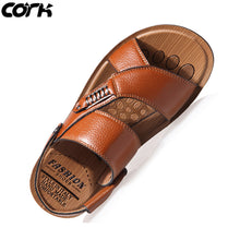 Load image into Gallery viewer, Cork Men Sandals Summer Genuine Leather Roman Sandals Male Casual Shoes Beach Flip Flops Men Fashion Outdoor Slippers Shoes - DivaJean