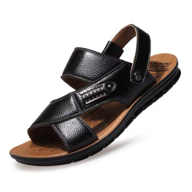 Cork Men Sandals Summer Genuine Leather Roman Sandals Male Casual Shoes Beach Flip Flops Men Fashion Outdoor Slippers Shoes - DivaJean