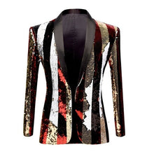 Load image into Gallery viewer, PYJTRL New Men Double-sided Colorful Stripe Red Gold White Black Sequins Blazer Design DJ Singer Suit Jacket Fashion Outfit - DivaJean