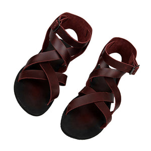 Leather Men Gladiator Sandals Summer Boots Burgundy Italian Strap Beach Breathable Flat Black Roman 2018 Shoes Open Toe Runway - DivaJean