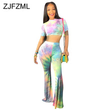 Cargar imagen en el visor de la galería, Colorful Tie Dye Sexy Two Piece Sweat Suits Women Festival Clothing O Neck Short Sleeve  Crop Top And Flare Pants 2 Piece Outfit - DivaJean