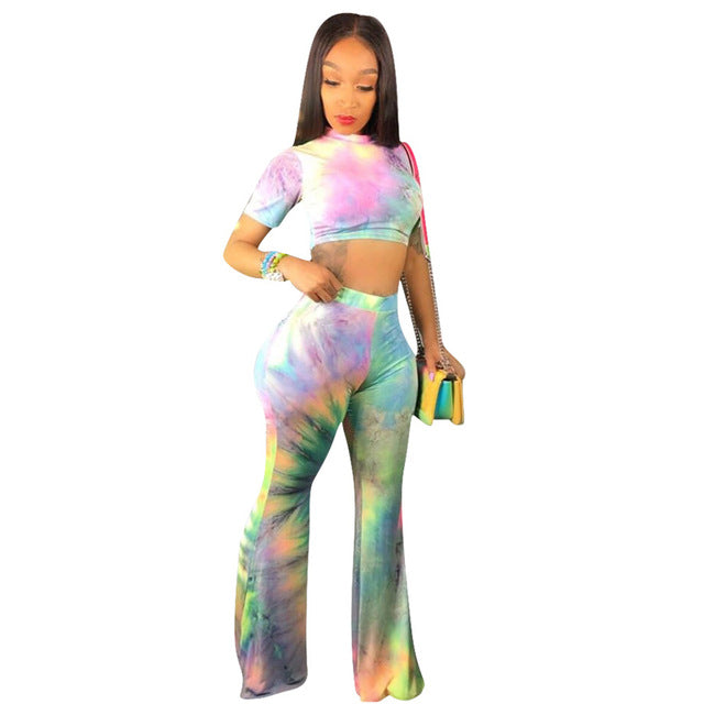 Colorful Tie Dye Sexy Two Piece Sweat Suits Women Festival Clothing O Neck Short Sleeve  Crop Top And Flare Pants 2 Piece Outfit - DivaJean