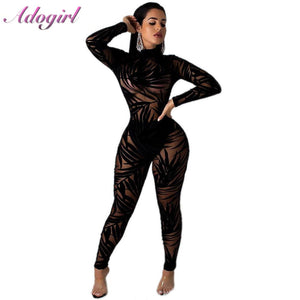 Sexy Night Party Club Black Lace Sheer Mesh Jumpsuit Women Casual Bamboo Leaf O Neck Long Sleeve Bodycon Rompers Female Overalls - DivaJean