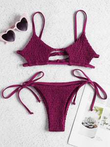 2019 Sexy Brazilian Bikini Bathing Suit Women Beach Shirred Micro Mini Bikini Push Up Swimsuit Thong Woman Swimwear 2 Piece - DivaJean