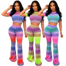 Load image into Gallery viewer, Women's Two-Piece Sets Casual Sexy Color Stripe Sports Suit Female Wrap Crop Tops + Long Wide Pants BodySuit Nightclub Overalls - DivaJean