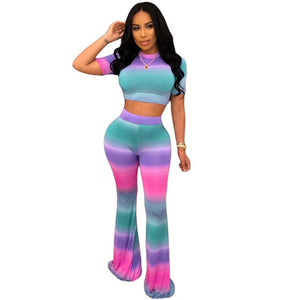 Women's Two-Piece Sets Casual Sexy Color Stripe Sports Suit Female Wrap Crop Tops + Long Wide Pants BodySuit Nightclub Overalls - DivaJean
