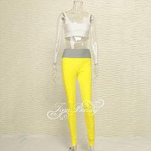 Load image into Gallery viewer, Tina Beauty Kylie Set Gymwear Outfits Two Piece Set Square Neck Midriff Bustier & Stretch Full Length Hash Line Pant Sweat Set - DivaJean