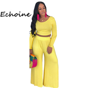 Echoine Casual 2 Piece Set Women Long Sleeve Crop Top + Long Wide Pants Plus Size Outfits Summer Clothes For Women 3 Color - DivaJean