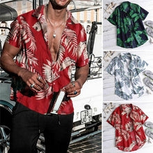 Load image into Gallery viewer, New Men Vintage Hawaiian Shirts 2019 Summer Leaf Print Beach Wear Shirts Men Casual Sexy Slim Fit Shirts Top Camisa Masculina - DivaJean