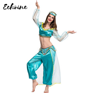 Echoine Arabian Royalty Costume For Adult Belly Dance Performance Classic Jasmine Cosplay Party Crop Top Long Pants 3 pieces set - DivaJean