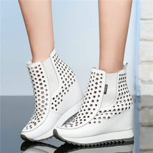 Load image into Gallery viewer, NAYIDUYUN   Tennis Shoes Women Trainers Cow Leather High Heel Gladiator Sandals Cut Out Wedges Platform Round Toe Summer Pumps - DivaJean