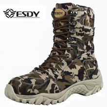 Load image into Gallery viewer, 2019 Men Military Tactical Boots Winter Breathable Leather Camouflage Lace Up Boots High Combat Ankle Boots Men's Work shoes - DivaJean