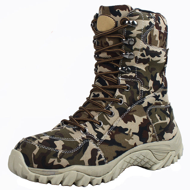 2019 Men Military Tactical Boots Winter Breathable Leather Camouflage Lace Up Boots High Combat Ankle Boots Men's Work shoes - DivaJean