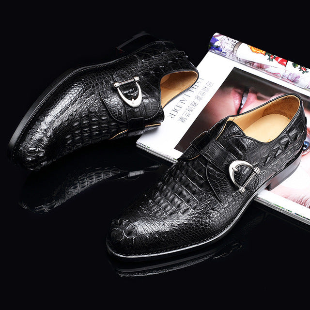New Black Brown Business Work Genuine Crocodile Leather  Shoes Men Pointed Toe Dress Shoes Party Wedding Office Footwear - DivaJean
