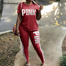 Load image into Gallery viewer, PINK Letter Print Plus Size Two Piece Set Women Tracksuit Casual Sexy Sweat Suits Short Sleeve Tee Shirt Tops Skinny Pants Set - DivaJean
