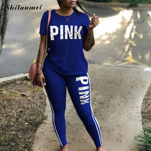 PINK Letter Print Plus Size Two Piece Set Women Tracksuit Casual Sexy Sweat Suits Short Sleeve Tee Shirt Tops Skinny Pants Set - DivaJean