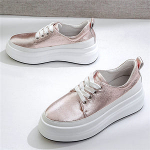 Vulcanized Shoes Women Lace Up Cow Leather Wedges Platform Tennis Shoes 2019 Low Top Trainers Walking Sneakers Casual Oxfords - DivaJean