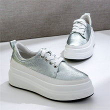 Load image into Gallery viewer, Vulcanized Shoes Women Lace Up Cow Leather Wedges Platform Tennis Shoes 2019 Low Top Trainers Walking Sneakers Casual Oxfords - DivaJean