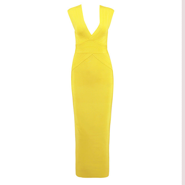2018 Winter new women dress deep v neck bandage dress sexy bodycon hollow out celebrity party yellow dresses vestidos wholesale - DivaJean