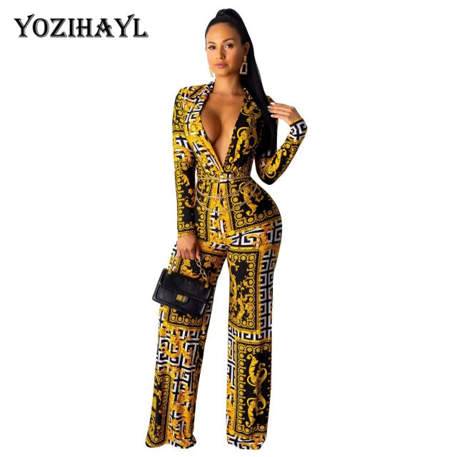 Women Elegant Jumpsuits V-neck Skinny Long Sleeve Sexy Bodycon Casual Slim Jumpsuits Overalls Fashion Ladies Rompers - DivaJean