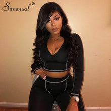 Load image into Gallery viewer, Simenual Fitness Casual Active Wear 2 Piece Set Women Sporty Workout Zipper Tracksuits Long Sleeve Top And Leggings Sets Fashion - DivaJean
