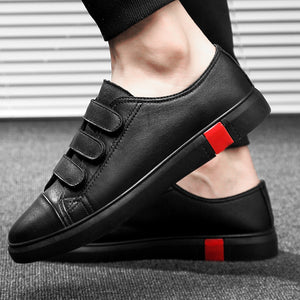 Leather Casual Shoes Men Classic Paste Lace Up Flats Male Black Comfortable Fashion Walking Sneakers Men Breathable Flats Shoes - DivaJean
