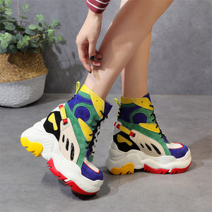 Multi-color Women Leather Sneaker Fashion Tennis Trainers Platform Wedge High Heel Ankle Boots Casual Shoes Punk Party - DivaJean
