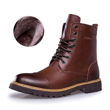 Load image into Gallery viewer, 2019 Winter New Leather Mid Motorcycle Men Boots Shoes Snow With Fur Plush Warm Vintage Classic Male Casual Boot booties - DivaJean