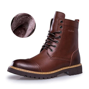 2019 Winter New Leather Mid Motorcycle Men Boots Shoes Snow With Fur Plush Warm Vintage Classic Male Casual Boot booties - DivaJean