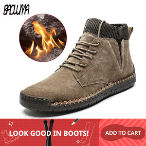 Brand Men Snow Boots Winter Plush Warm Men Motorcycle Boots Lace-Up Non-slip Male Ankle Boots Waterproof Autumn Man Work Shoes - DivaJean