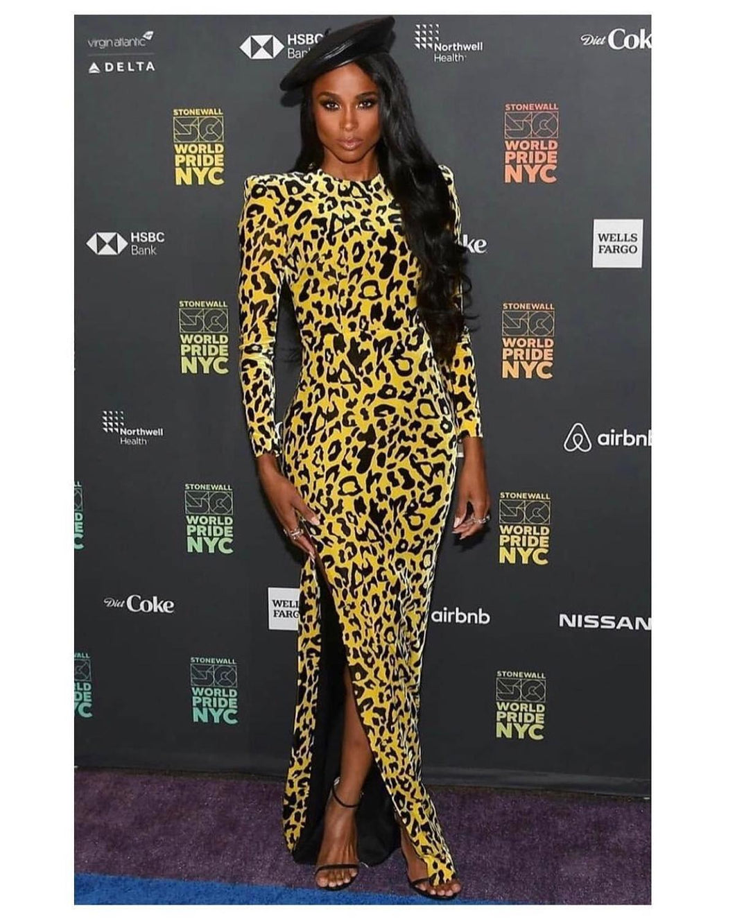 High Quality Celebrity Yellow Long Sleeve Leopard Print Dress Evening Party Dress - DivaJean