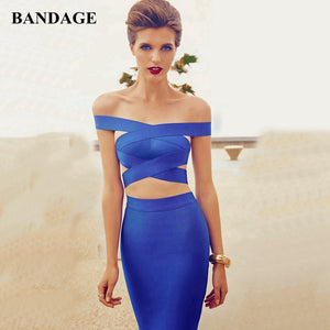 New Summer Party Dresses Women Boutique Sexy Bodycon Vestidos Off Shoulder Blue Bodycon Bandage Dress Cut Out Club Wear - DivaJean