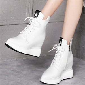 New Tennis Shoes Women Lace Up Genuine Leather High Heel Fashion Sneakers Pointed Toe Wedge Platform Pumps Casual Trainers Shoes - DivaJean