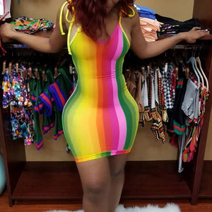New Fashion Women Strap Sleeve Mini Dress V Neck Rainbow Stripe Bodycon Dress Ladies Sexy Club Party Wear Summer - DivaJean