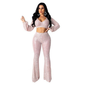 Sexy Sequin Two Pieces Set Short Long Sleeve Crop Top + Boot Cut Pant Autumn Winter Tracksuit Party Night Clubwear Outfits - DivaJean
