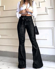 Load image into Gallery viewer, High Waist Flare Jeans Black Bell Bottom - DivaJean