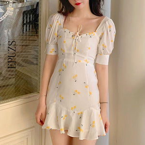 Summer dress 2019 vintage white ruffle lace up beach sexy dress elegant kawaii yellow cherry casual mini dress korean vestidos - DivaJean