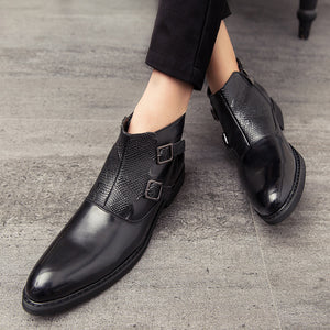 Misalwa Retro Original Men PU Leather Boots Pointy Brogue Italian Zipper Men Dress Shoes Side Buckle Elegant Decent Male Boots - DivaJean