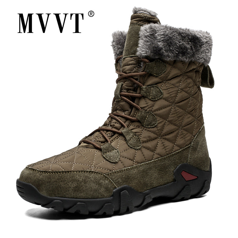 Plus Size Genuine Leather Boots Men Snow Boots Outdoor Super Warm Winter Men boots High Mid-Calf Keep Warm botas hombre - DivaJean