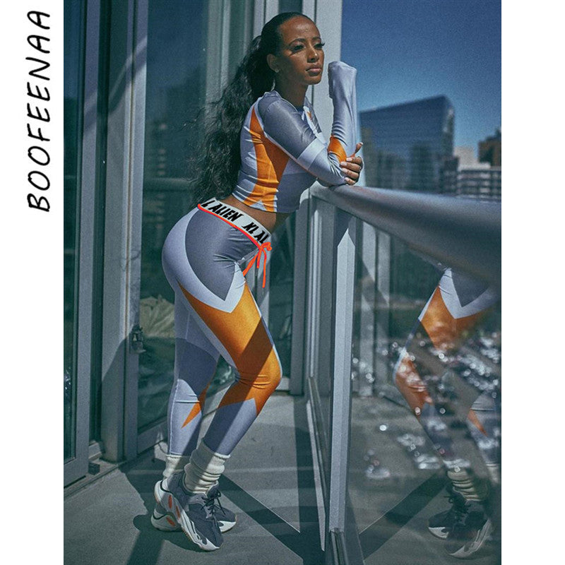 BOOFEENAA Sexy 2 Piece Set Crop Top and Sweat Pants Workout Clothes for Women Matching Sets Activewear Jogging Suits C87-AF36 - DivaJean