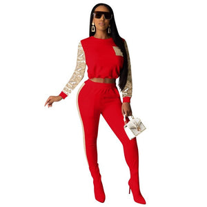 Long Sleeve Sequined Women Tracksuits Solid Crop Top+Leggings Plus Size Sports Two Piece Sets Casual White Suit Red Club Outfits - DivaJean