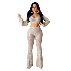 Women Party Suit Sexy Sequin Crop Tops Elegant 2 Piece Set Puff Sleeve Loose Long Flare Pants Chic Streetwear Lady Fancy Clothes - DivaJean