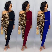 Load image into Gallery viewer, Women Two Piece Set Leopard Print Patchwork Sexy Oblique Collar Off Shoulder Crop Tops Slim Long Pencil Pants Suits Lady Clothes - DivaJean