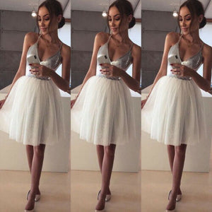 2019 arrival Women Silver Formal White Layers Mesh Sexy Deep V-Neck Low Cut Sequin Club Wear Evening Party Midi Princess Dress - DivaJean