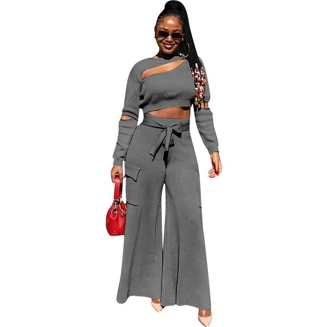 Sexy Knit Ribbed Autumn And Winter 2 Pieces Set Hollow Out Crop Top + Long Wide Pants Irregular Tracksuit Women Club Outfits - DivaJean