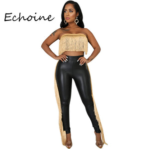 Sexy Strapless Women 2 Pieces Set Tassel PU Leather Crop Top + Long Pants Slinky Bodycon Party Night Clubwear Outfit Stretch - DivaJean