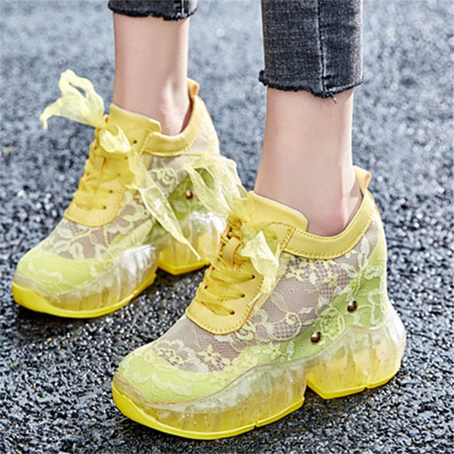 NAYIDUYUN    Summer Tennis Shoes Women Cow Leather Wedges High Heel Gladiator Sandals Breathable Sneakers Casual Trainers Shoes - DivaJean