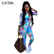 Load image into Gallery viewer, Floral Printed Sexy 2 Piece Sweat Suits Female Clothes Long Sleeve Front Zipper Coat Tops+Side Striped Bodycon Pant Tracksuit - DivaJean